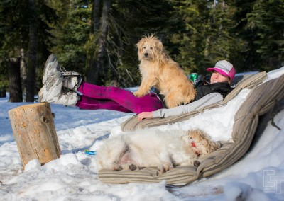 Tamara and the dogs totally soaking in the glory!